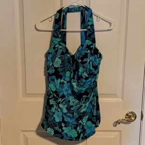 Land's End Slimming Floral One Piece Swimsuit